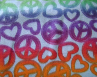 Peace Signs & Hearts Fleece Fabric (1 yard 26 inches)