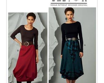 Vogue Pattern V9283 Misses' Elastic-Waist Skirt with Seam Details