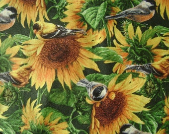 Sunflowers & Birds Cotton Fabric sold by the yard