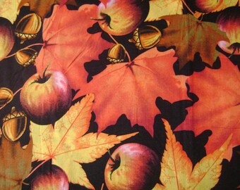 Apples and Colorful Leaves Cotton Fabric Sold by the Yard