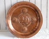 Vintage copper wall plate Large dish Folklore myth Kitchen accessories Cozy Housewarming Gift retro Dinnerware decor DAY hanging decorative