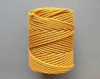 5 mm   3ply   Mustard   Macrame Rope   Macrame cord tangling