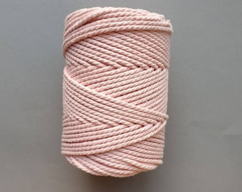 5 mm   3ply   Baby pink   Macrame Rope   Macrame cord turned