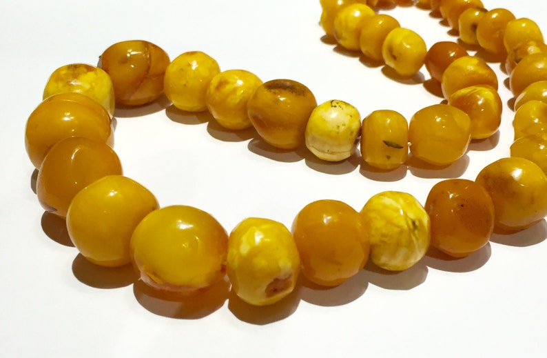 Necklaces & Pendants 14k 65g Solid Amber Old Art Deco Natural Egg Yolk Butter Scotch Amber Necklace Special Summer Sale Vintage & Antique Jewelry