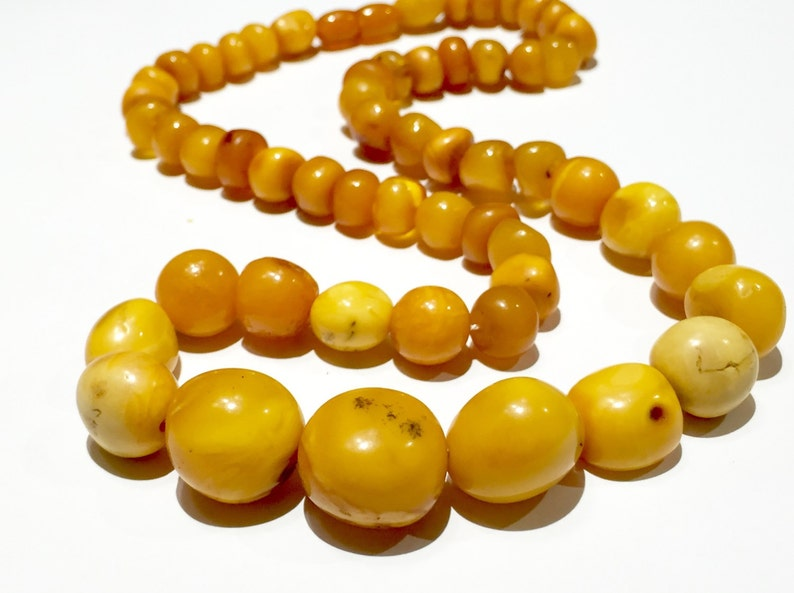 Fine 14k 65g Solid Amber Old Art Deco Natural Egg Yolk Butter Scotch Amber Necklace Special Summer Sale