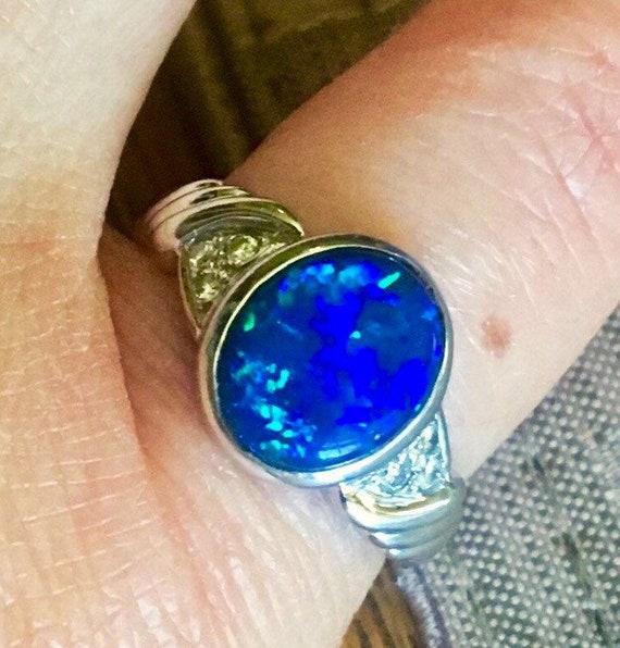 18k Natur Black Blue Opal VS Diamonds ring engagem