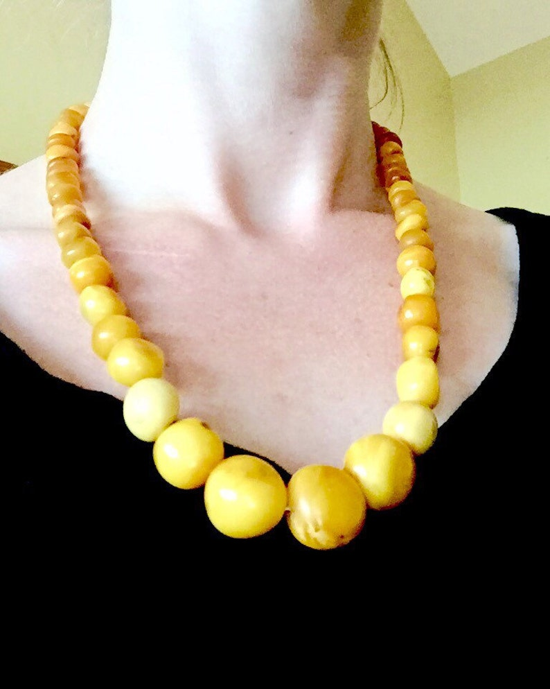 Jewelry & Watches 14k 65g Solid Amber Old Art Deco Natural Egg Yolk Butter Scotch Amber Necklace Special Summer Sale