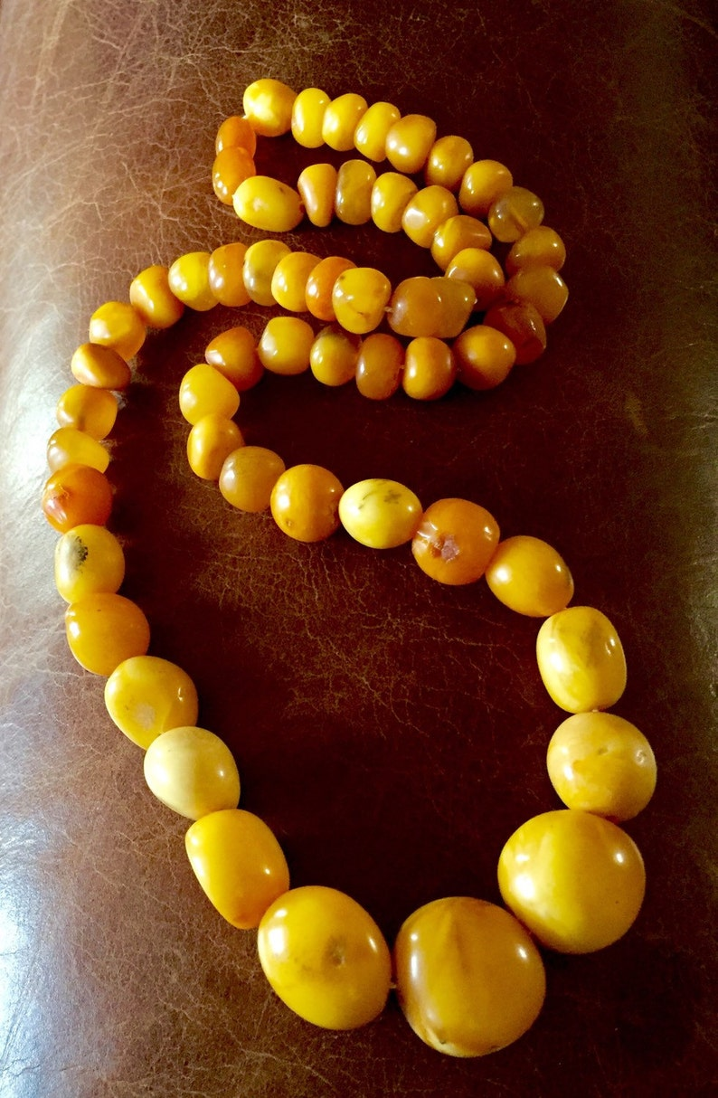 14k 65g Solid Amber Old Art Deco Natural Egg Yolk Butter Scotch Amber Necklace Special Summer Sale Vintage & Antique Jewelry