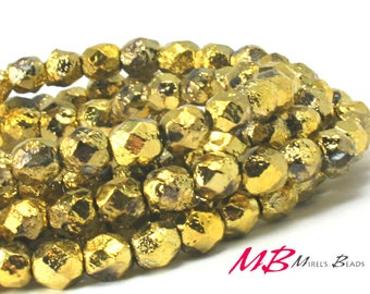 6mm 25 pcs Gold Etched, Fire Polish Beads, Small Faceted Czech Glass