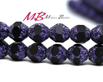 6mm Eggplant Cut Fire Polished Bicone Beads, Purple Bicone Beads