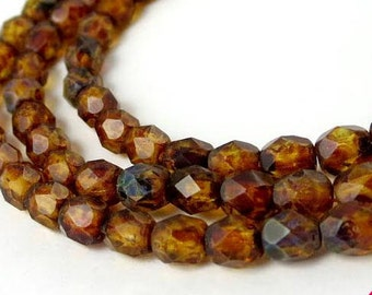4mm 50 pcs Matte Crystal Picasso, Brown Fire Polished Beads, Faceted Czech Glass