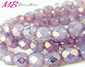 25 6mm Purple Opal Faceted Glass, Czech Fire Polished