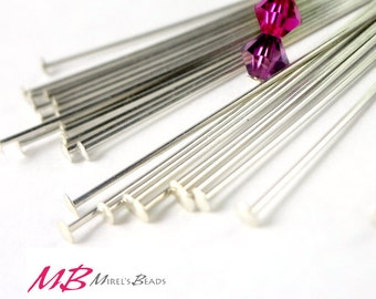 10 pcs 2 inch Sterling Silver Head Pins, 22 gauge