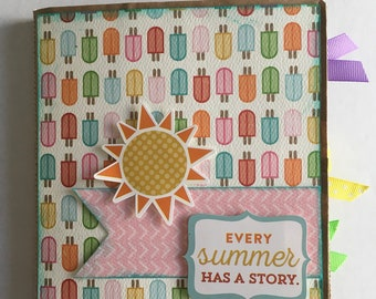 SUMMER SCRAPBOOK, every summer has a story, paper bag album, 6x6 photo album 12 pages, homemade, summer gift.