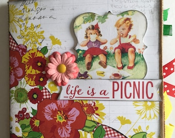 LIFE IS A PICNIC paper bag album, 6x6 photo album, handmade and perfect for a summer gift.
