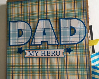 DAD MY HERO paper bag album, 6x6 photo album, Father's Day gift, just add photos
