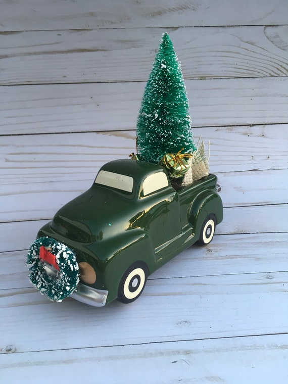 Christmas In July Sale Ideas.Christmas In July Sale Cute Ceramic Truck With Christmas Scene Mantel Decor Christmas Decor Gift Ideas Bottle Brush Trees Vintage Decor