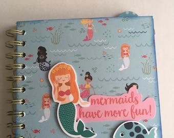 MERMAIDS HAVE MOREFUN paper bag album, 6x6 photo album, handmade, perfect for childs gift.