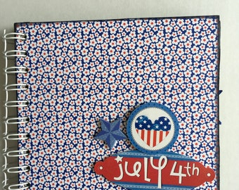 JULY 4TH chipboard album, 6x6 photo album, handmade and perfect for Fourth of July festivities Scrapbook