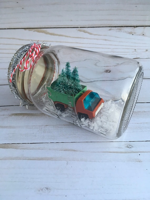 Christmas In July Sale Ideas.Christmas In July Sale Mason Jar With Christmas Scene Vintage Toy Truck Mantel Decor Christmas Decor Gift Ideas Bottle Brush Trees