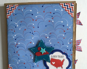 FOURTH of JULY,  paper bag album, 6x6 homemade photo album, just add photos for perfect Land that I Love, scrapbook