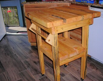 """24"""" x 24' butcher block rolling island for kitchen."""