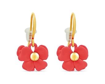 cc34e2006 Colores Flower Hook Earrings, 18k Gold Plated Hypoallergenic Dangle Earrings  for Girls