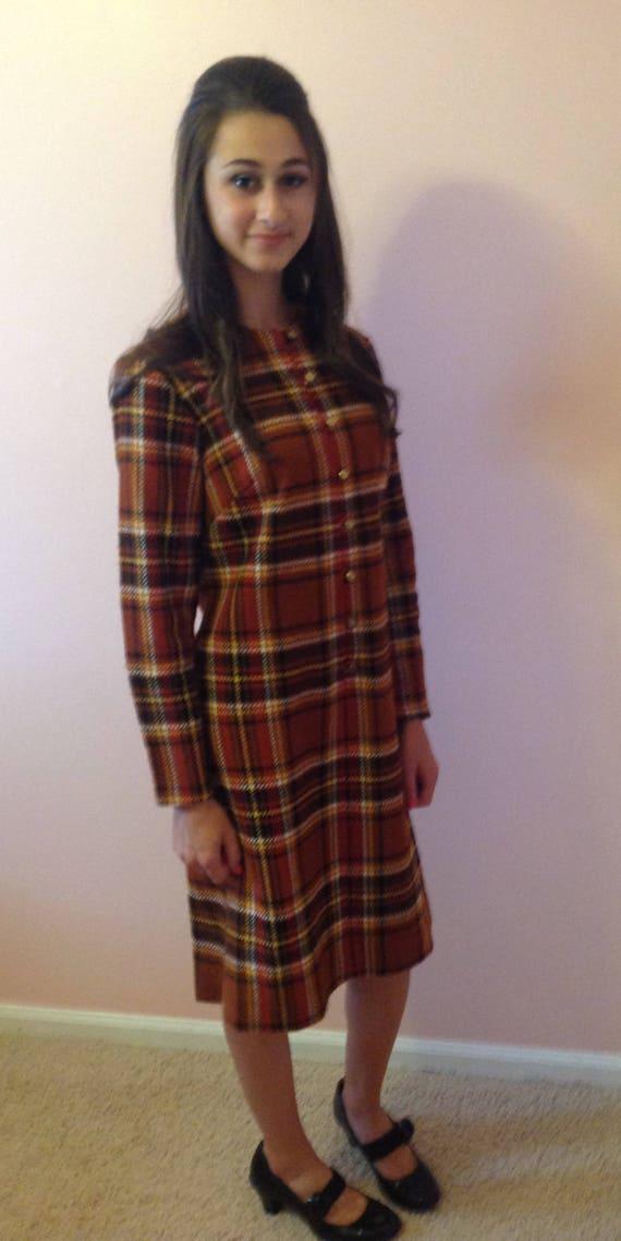 1960s Toni Todd Plaid Dress