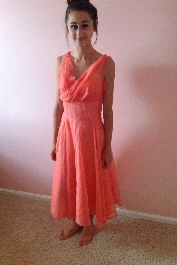 Spring Promenade ~ Fifties Coral Prom Dress - image 1