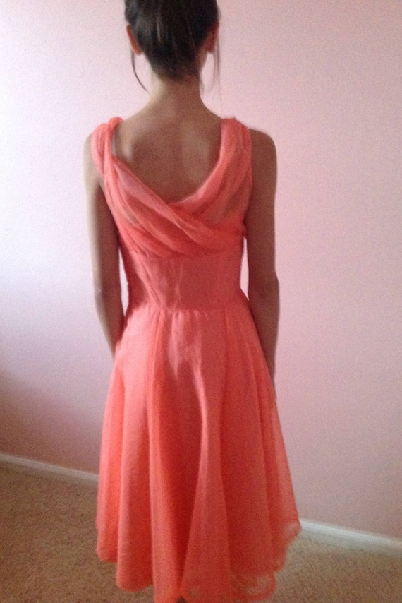 Spring Promenade ~ Fifties Coral Prom Dress - image 3