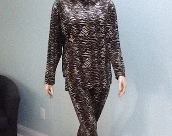 60's Lounge Wear,Size M, Zebra Print Suit, Leisure suit, Leopard Leisure Suit,
