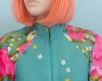 70's Hostess Dress,Size M-L,Polyester Maxie,Floral Print