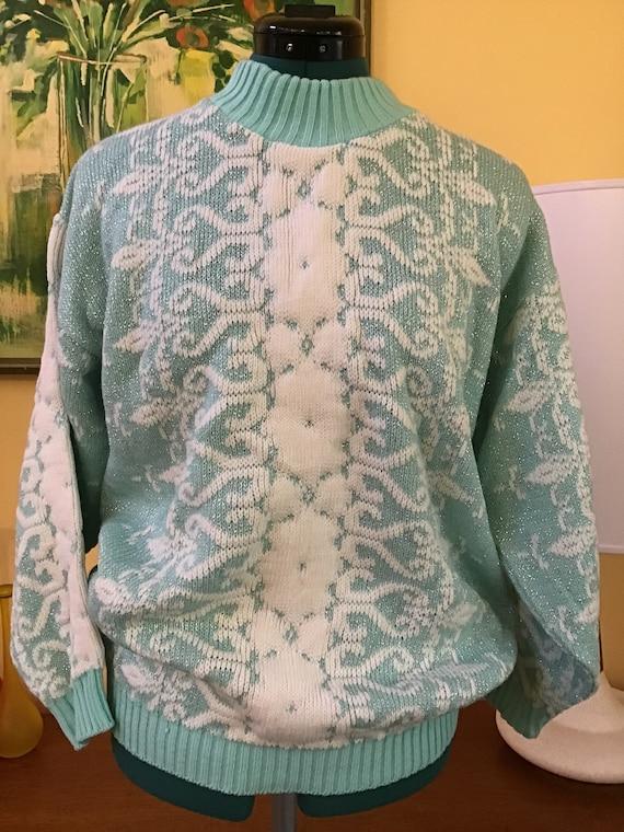80's Ugly Sweaters,Size L,Acrylic Snow Flake Sweat