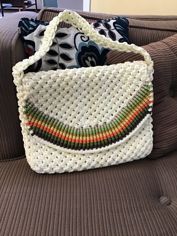 Macrame Shoulder Bag,70's Macrame Handbag,80's Kno