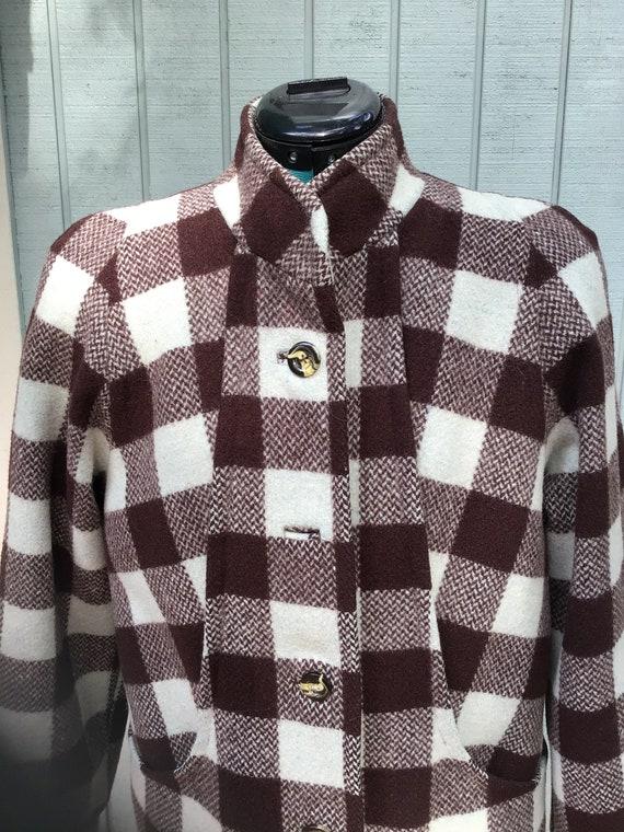 50's Plaid Wool Coat,Vintage Car Coat,Size 14,  50