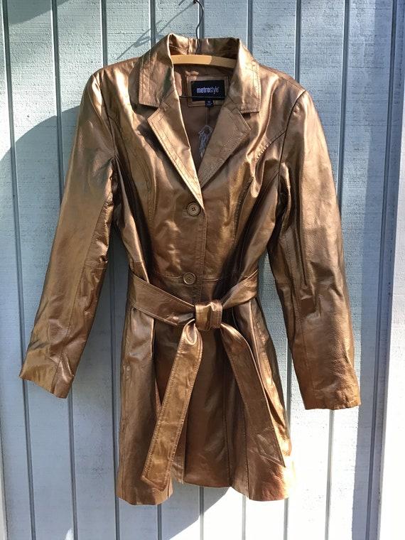 80's-90's Bronze Leather Trench Coat,Size 10T,Meta