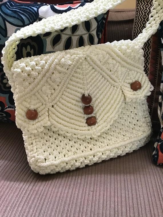 Macrame Woven Shoulder Bag,80's Messenger Bag,70's