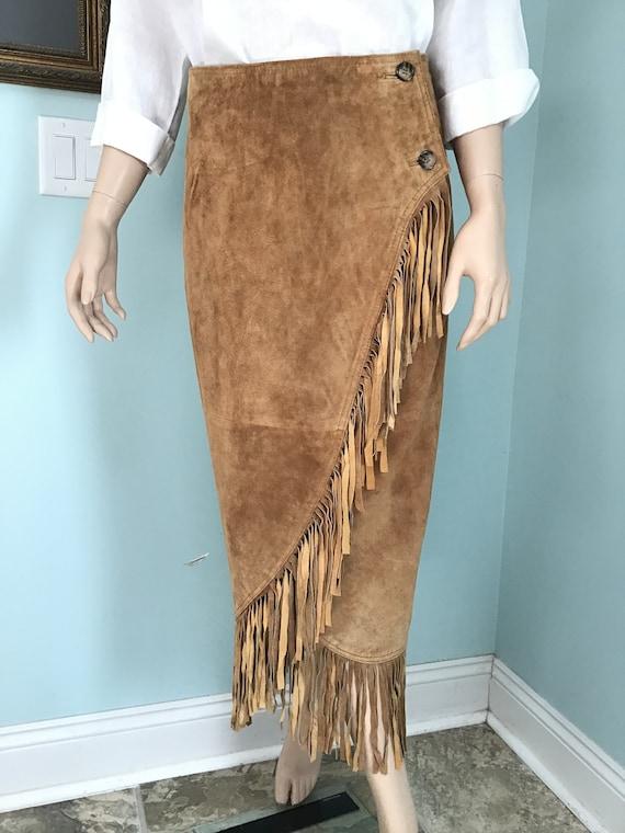 Vintage 90's Suede Fringe Skirt,90's Wrap Skirt,80