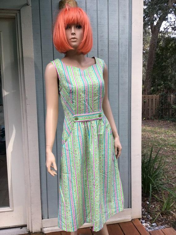 80's Dresses,Seersucker,Size  10-12,Shift Dress,Co