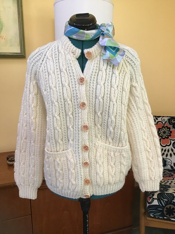 80's Handknit Cable Womens Sweater,Size M-L Sweate