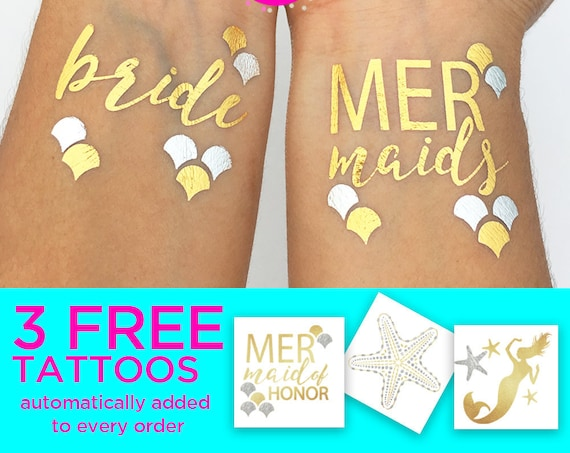 Mermaids tattoos for your mermaid bachelorette party, Includes bride, mermaids, mermaid of honor, starfish and mermaid silhouette