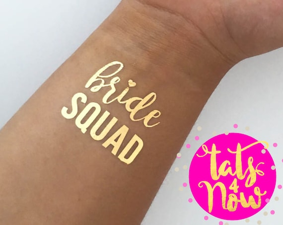 Bride squad, bachelorette party, bachelorette party favors, gold tattoo, bridal party tattoo, squad tattoo, bridesmaids gift