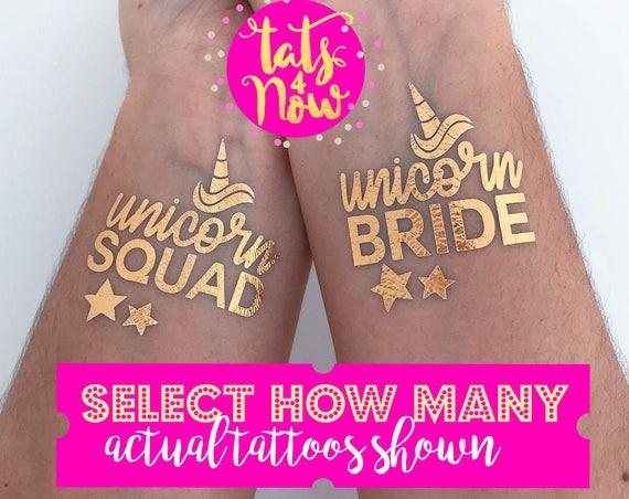 Unicorn Bride + Unicorn squad Gold tattoos