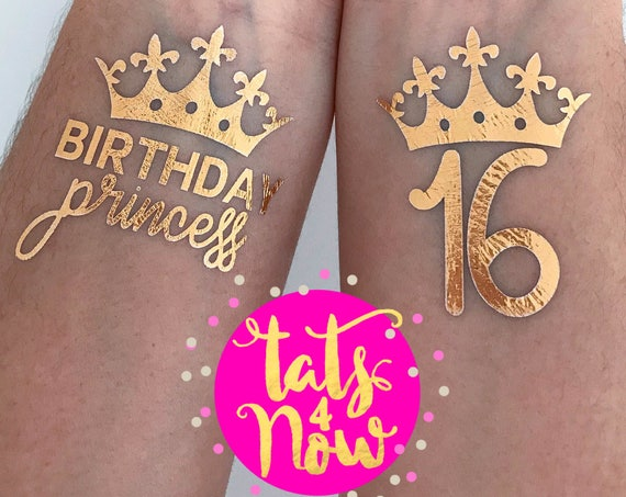 sweet 16 ideas, sweet 16 party ideas, sweet 16 gift ideas, sweet 16 favors, sweet 16 gold foil social media worthy temporary tattoos