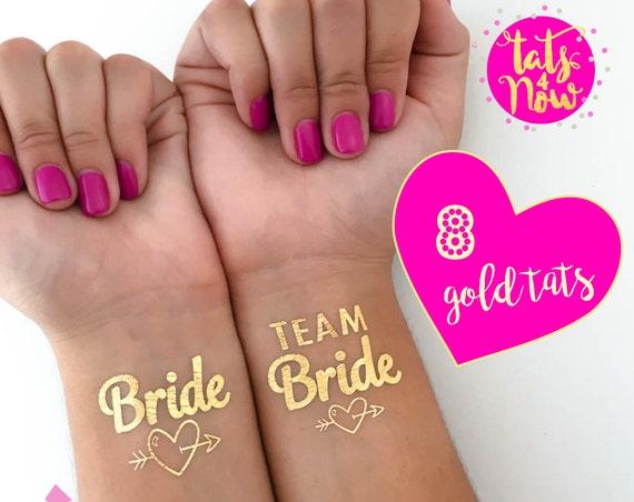 Fun bachelorette idea | Bachelorette tattoos | Bachelorette favor | Bridesmaid gift | Hens party idea | Gold tattoo