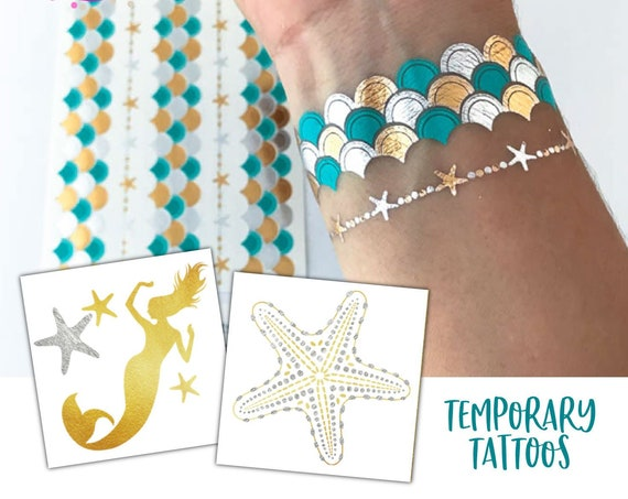 Lets be mermaids party favor tattoos perfect for guests gift bags or a great activity