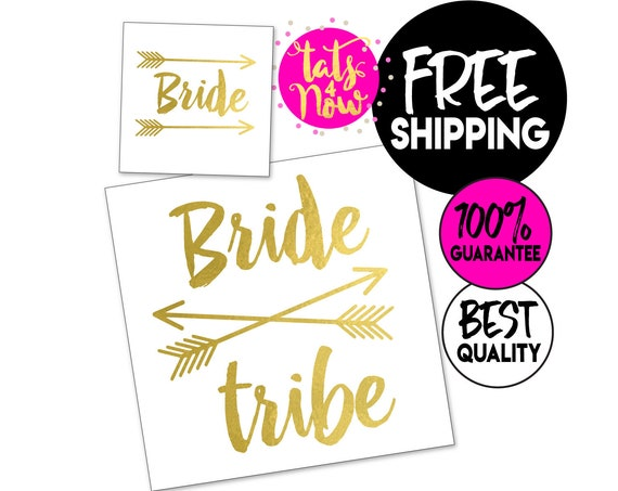 Boho Bride Tribe + Bride + Feather gold tattoos