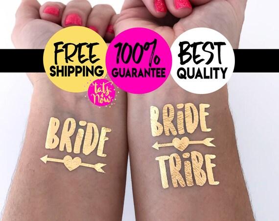 Bachelorette Tattoo // Bride Tribe Tattoo // Bachelorette Favors // Temporary Tattoos // Metallic Tattoos Bachelorette Party Tattoos Gold