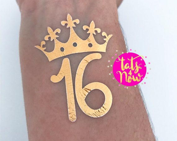 Sweet 16 gold party temporary tattoos, 16th birthday favors, Sweet Sixteen party tattoos, 16 Birthday gold favors, Sweet 16, Sweet Sixteen