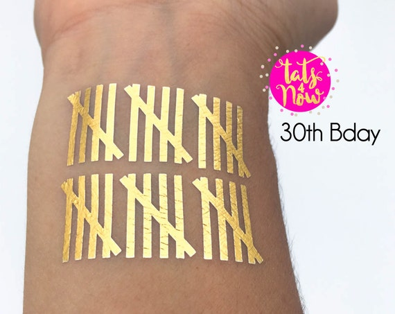 30th, thirty, 30th birthday, 30th birthday gift, dirty thirty, dirty 30, temporary tattoo, gold tattoo, birthday gift, party favor